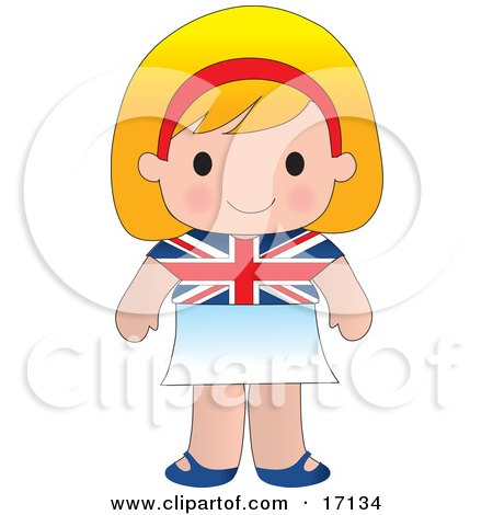 Cute Blond English Girl Wearing A Flag Of Britian Shirt Clipart Illustration by Maria Bell