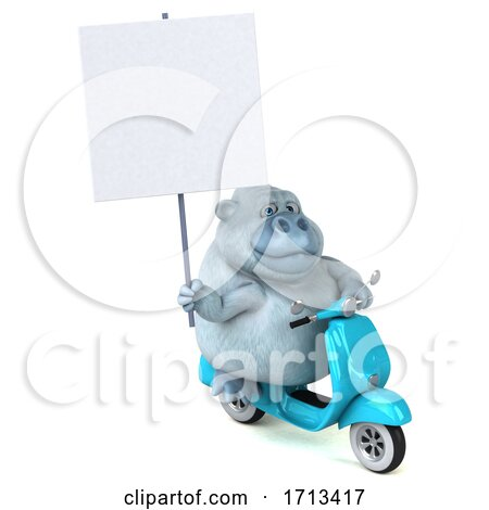 3d White Monkey Yeti Riding a Scooter, on a White Background Posters, Art Prints