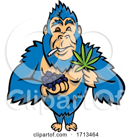 Blue Gorilla Holding a Bunch of Blueberry on One Hand and Cannabis Leaf on Other While Smoking a Joint Posters, Art Prints