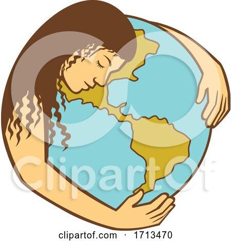Mother Earth Hugging World Globe Retro by patrimonio