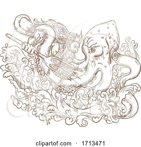Neptune ighting giant octopus by patrimonio