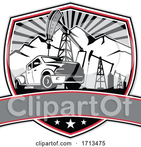 Pick-up Truck and Oil Derrick Shield Badge Retro by patrimonio
