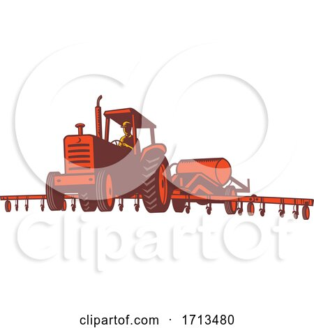 Tractor Pulling an Anhydrous Ammonia or Nitrogen Tank Posters, Art Prints