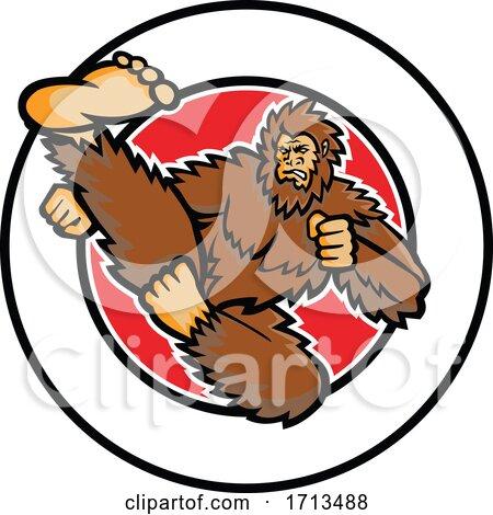 Bigfoot-taekwondo-flying-kick-CIRC-MASCOT by patrimonio