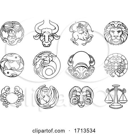 Horoscope Zodiac Astrology Star Signs Icon Set by AtStockIllustration