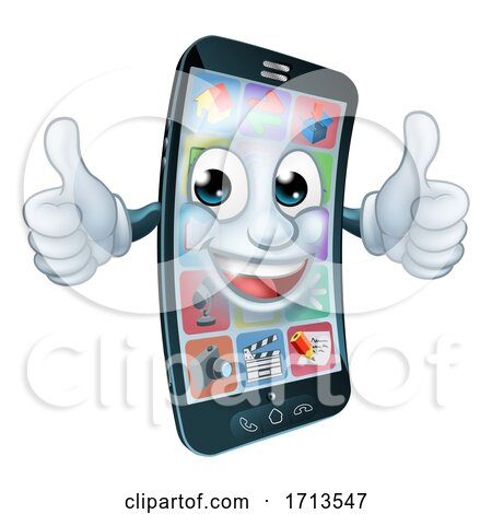 Cell Mobile Phone Mascot Cartoon Character by AtStockIllustration