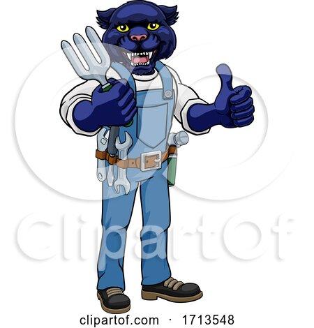 Panther Gardener Gardening Animal Mascot by AtStockIllustration