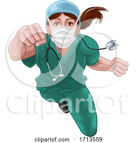 Nurse Doctor Woman Super Hero Medical Concept by AtStockIllustration