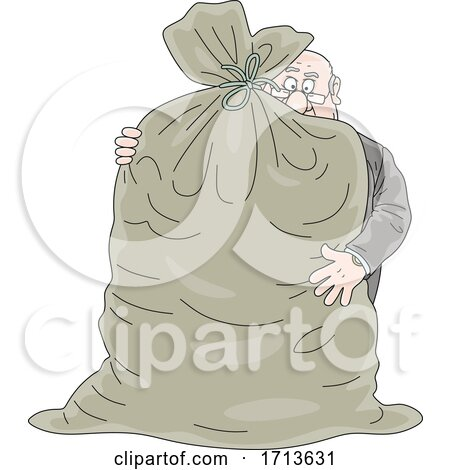 Fat Corrupt Male Politician Hugging a Bag of Money by Alex Bannykh