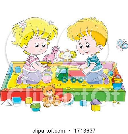Children Playing in a Sand Box by Alex Bannykh
