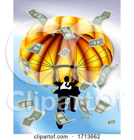 Golden Parachute Cash Silhouette Business Man by AtStockIllustration