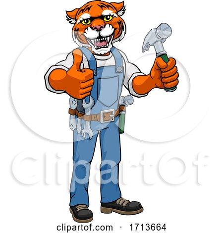 Tiger Mascot Carpenter Handyman Holding Hammer Posters, Art Prints