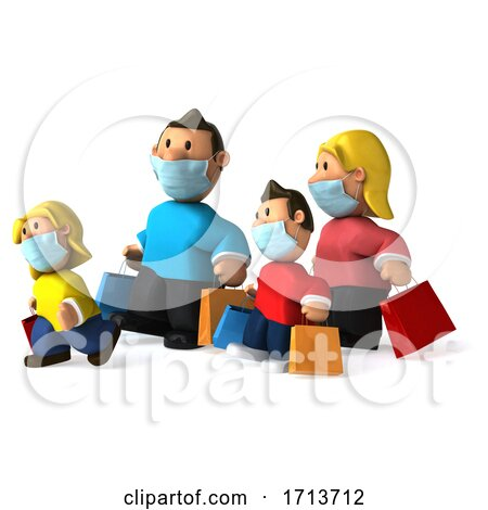 3d Shopping White Family Wearing Masks on a White Background by Julos