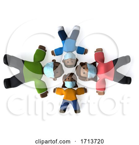 3d Happy Black Family, on a White Background by Julos