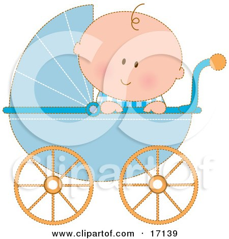 Caucasian Baby Boy In A Blue Stroller Carriage, Looking Over The Side Clipart Illustration by Maria Bell