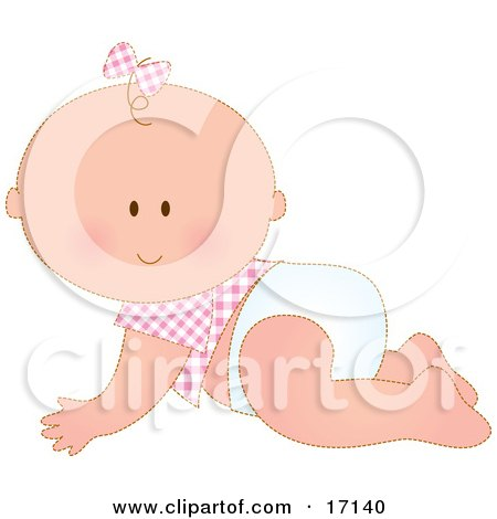 Caucasian Baby Girl In A Pink Checkered Shirt And Bow On Her Hair, Crawling In A Diaper  Posters, Art Prints
