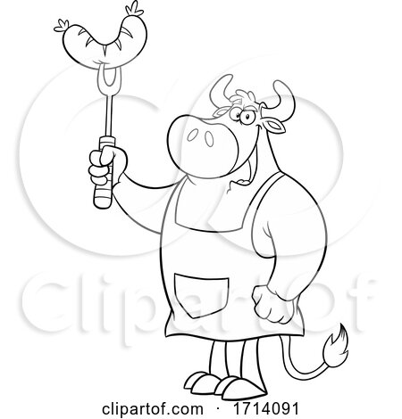 Black and White Bull BBQ Chef with a Sausage Posters, Art Prints