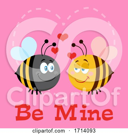 Bee Couple in Love over Be Mine Text Posters, Art Prints