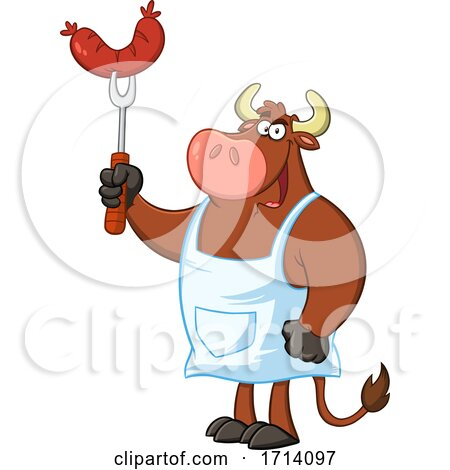 Bull BBQ Chef with a Sausage Posters, Art Prints
