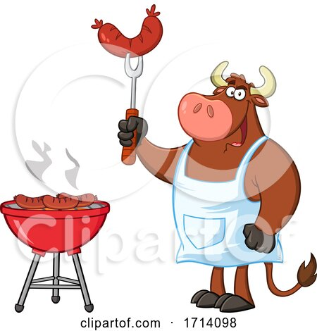 Bull BBQ Chef Grilling Sausages Posters, Art Prints