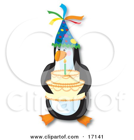 Cute Penguin Bird Wearing A Party Hat And Serving A Birthday Cake With A Lit Candle On It  Posters, Art Prints