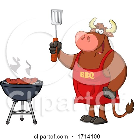 Bull BBQ Chef Grilling Sausages on a Barbeque Posters, Art Prints