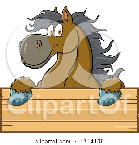 Happy Draft Horse over a Sign by Hit Toon