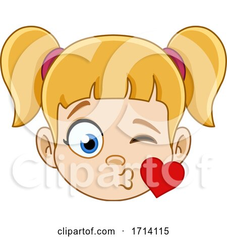 Blond Haired Girl with a Kiss Expression Posters, Art Prints