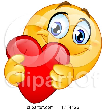 Yellow Emoji Squeezing and Holding out a Heart Posters, Art Prints