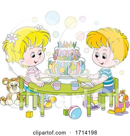 Children Celebrating a Birthday by Alex Bannykh