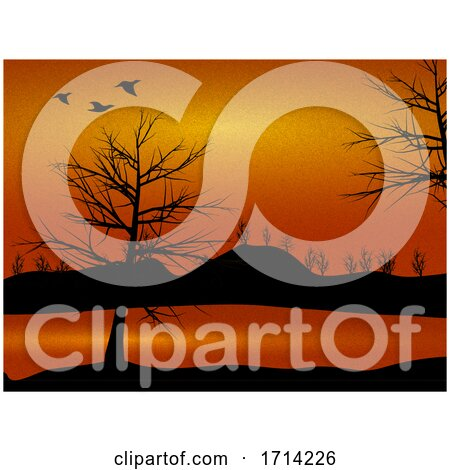 Nature Countryside View with Trees and Ducks Silhouette by elaineitalia
