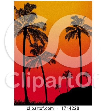 Textured Grain Tropical Background with Palm Trees by elaineitalia