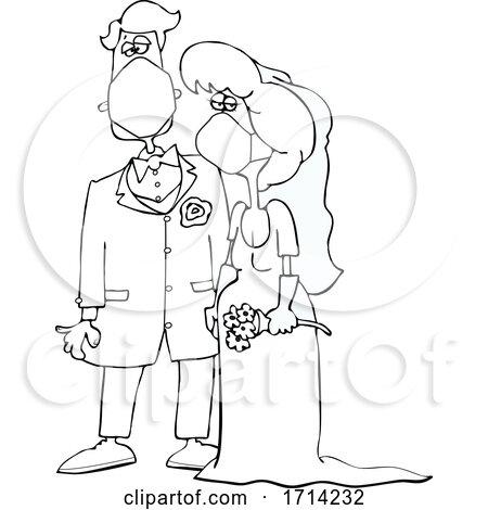 Cartoon Black and White Coronavirus Bride and Groom Wearing Masks Posters, Art Prints