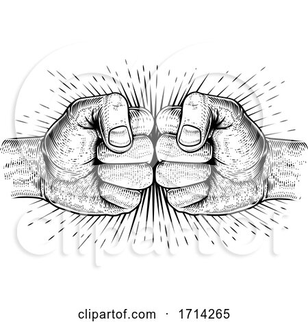 Two Hands Fist Bump Punch Woodcut Fists by AtStockIllustration