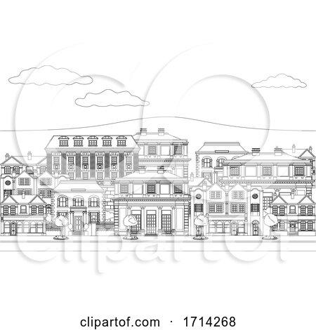 Houses Shops Street Scene Coloring Outline Art by AtStockIllustration