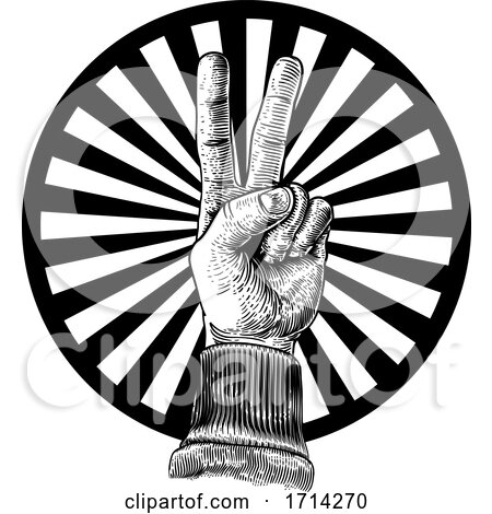 Peace Victory Hand Sign by AtStockIllustration