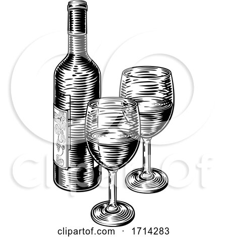 Wine Bottle and Glasses Vintage Woodcut Etching by AtStockIllustration