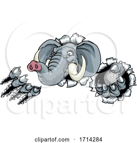 Elephant Golf Ball Sports Animal Mascot by AtStockIllustration