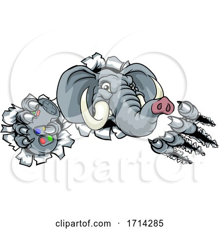 Elephant Video Games Controller Gamer Mascot by AtStockIllustration