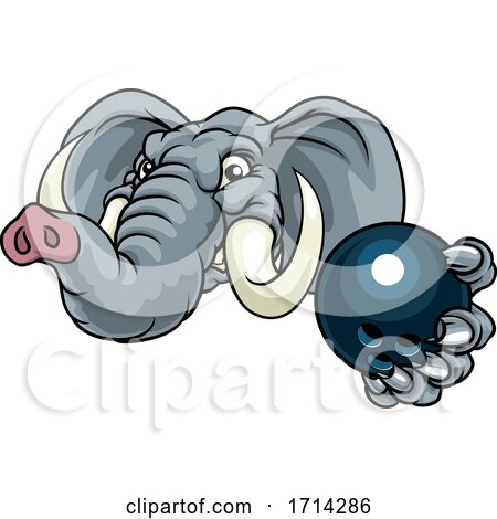 Elephant Bowling Ball Sports Animal Mascot by AtStockIllustration