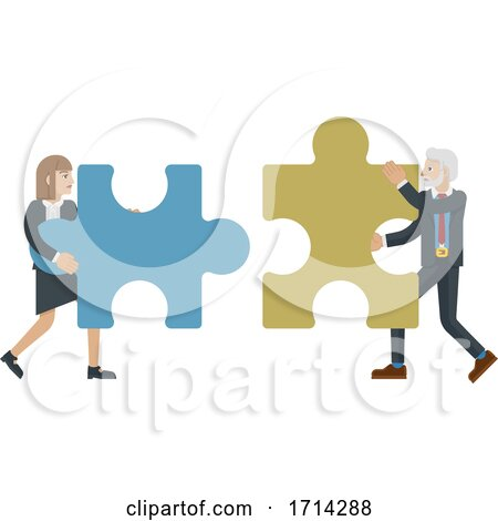 Puzzle Piece Jigsaw Characters Business Concept Posters, Art Prints