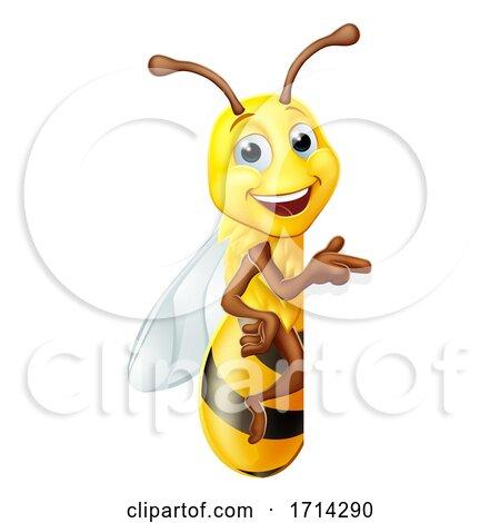 Bumble Honey Bee Bumblebee Cartoon Character Sign by AtStockIllustration