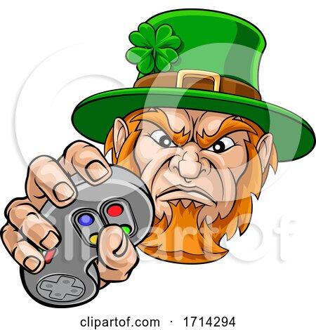 Leprechaun Gamer Mascot and Video Games Controller by AtStockIllustration