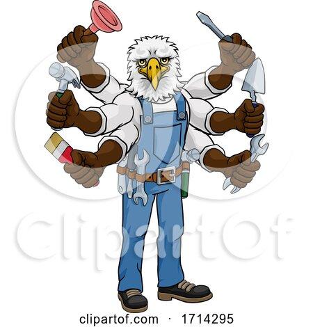 Eagle Multitasking Handyman Holding Tools by AtStockIllustration