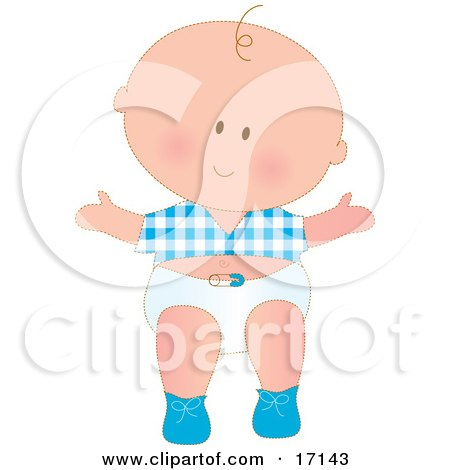 Caucasian Baby Boy Wearing A Blue Checkered Shirt And White Diaper While Taking His First Steps Clipart Illustration by Maria Bell