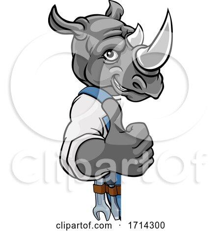 Rhino Plumber Mechanic Handyman Peeking Sign Posters, Art Prints