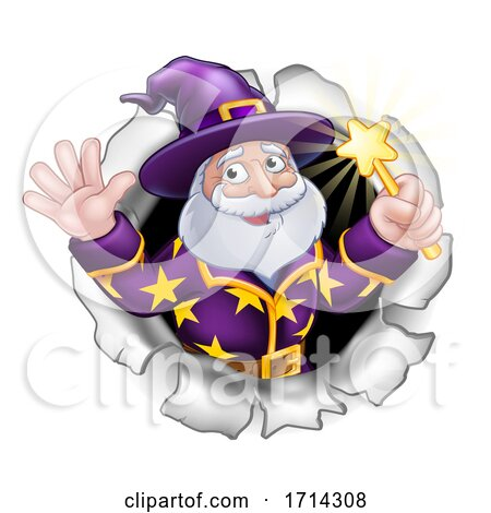 Wizard with Wand Breaking Through Background by AtStockIllustration