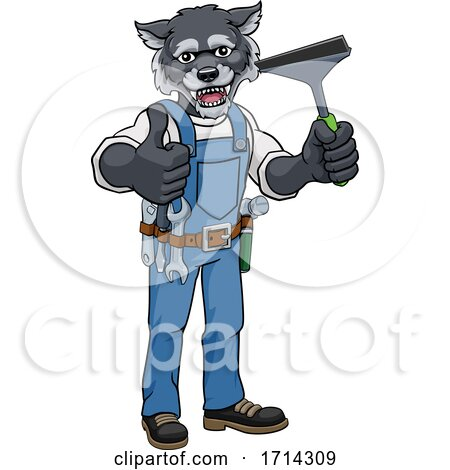 Wolf Car or Window Cleaner Holding Squeegee by AtStockIllustration
