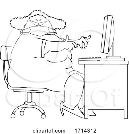 Cartoon Black and White Chubby Woman Wearing a Mask and Working at a Desk by djart