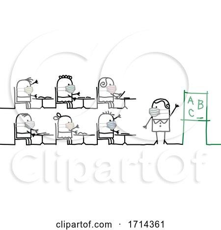 Stick Children and a Teacher Wearing Coronavirus Masks in a Class Room Posters, Art Prints